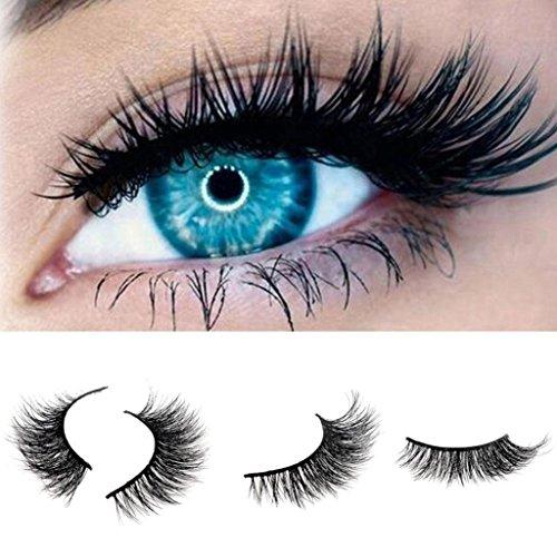 D-XinXin 100% 3D Real Mink Hair Natural Thick Makeup Eye Lashes False Eyelashes (Black)