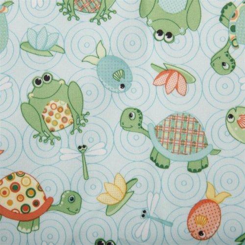 Dritz babyville PUL impermeable pañal tela, 64-Inch, Playful estanque Tortugas y ranas