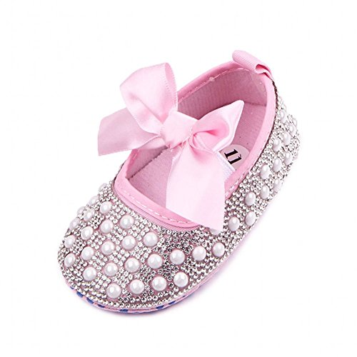 (Fire Frog Newborn Baby Bow Bling Crystal Pearl Mary Jane Toddler Prewalker Shoes Pink 0-6 Months)