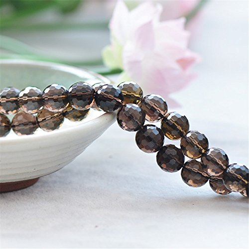 Faceted Grade AA Natural Smoky Quartz Beads Round with 128 Facets 6mm-16mm 15 Inch Strand SQ15 (6mm) (16mm Facet Beads Round)