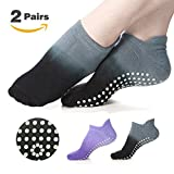 CozTake Yoga Socks Non Slip Skid Pilates Barre Workout Socks With Grips For Women 2 Pairs Grey&Purple