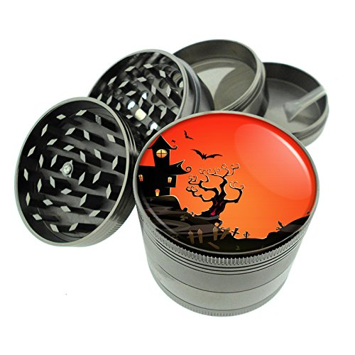 Dark Cool Gray / Titanium Zinc Metal Grinder Classic Halloween Theme S24 4 Piece Diamond Cut Teeth 8oz Heavy Duty]()