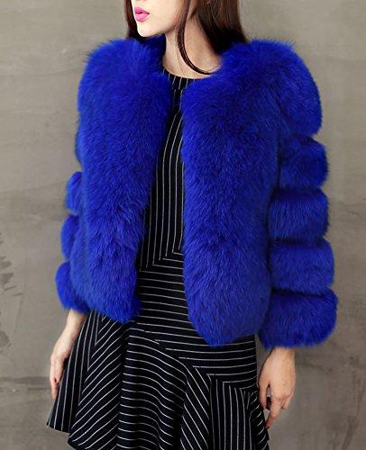 LaoZan Fourrure Manteau Simple Manches Fausse Chic Aux femmes en et Bleu Longues wCqdwr0