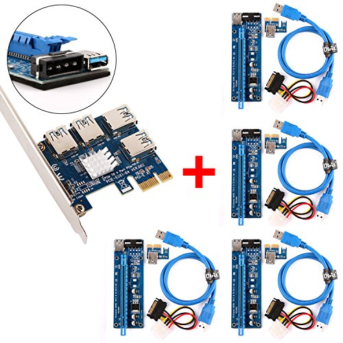 Ubit 4 in 1 PCI-E Riser Adapter Board + 4 PIN 16x to 1x Powered Riser Adapter Card w/ 60cm USB 3.0 Extension Cable & 4-Pin PCI-E to SATA Power Cable - GPU Riser Adapter - Ethereum Mining ETH
