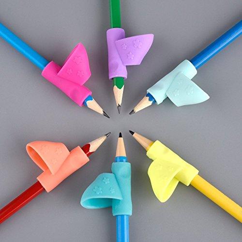 Pencil Grip, JRing Lot de 6 Grippies Aide écriture (Guide doigt) Grip Coloris Aléatoire