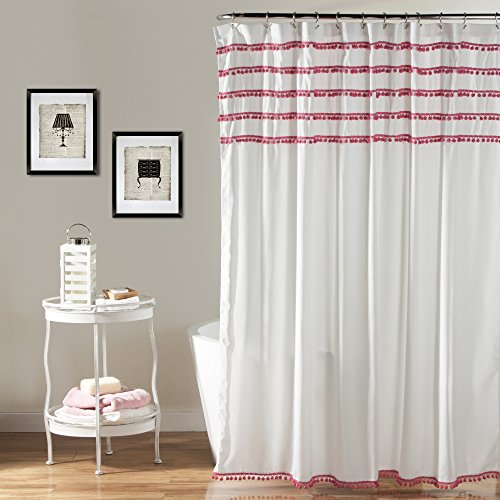 Lush Decor Aria Pom Shower Curtain, 72 x 72 inches, Pink (Shower Curtain Tassel)