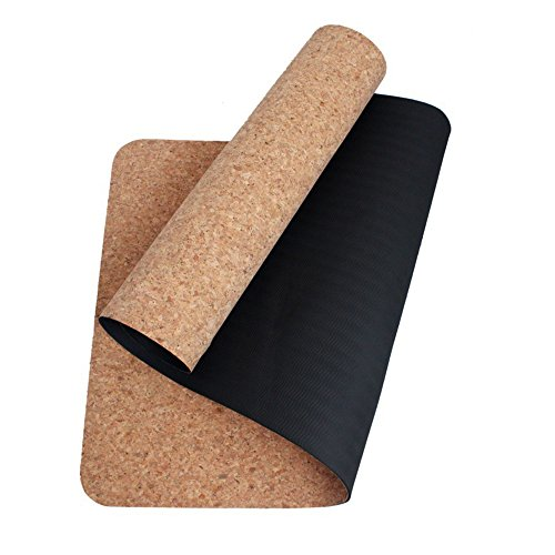 boshiho High Density Eco-Friendly Cork + TPE Exercise Yoga Mat for Pilates, Fitness & Workout with Carrying Strap, No Smell (Black)