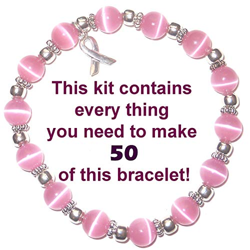 Fiber Optic Craft Beads - Cancer Awareness Bracelet Kit by Hidden Hollow Beads, Makes 50 or 65, 8mm or 6mm Stretch Cord Bracelets, Fundraisers, Relay for Life, Pink Out Day (8mm Pink Beads - Makes 50 Bracelets)