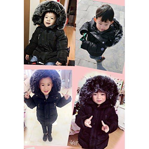 Aiffel Kids Baby Boys Girls Big Fur Collar Down Coat Jacket Winter Warm Puffer Hooded Thicken Down Windproof Jacket.