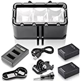 Neewer® 3 LED Dimmable Waterproof Flash Diving Light (Underwater 30m) + 2 * 1000mAh Rechargeable Li-ion Battery + USB Battery Charger for Gopro Hero4 Session, 4, 3+, 3, 2, 1, Xiaomi Yi SJ4000/5000/6000/7000