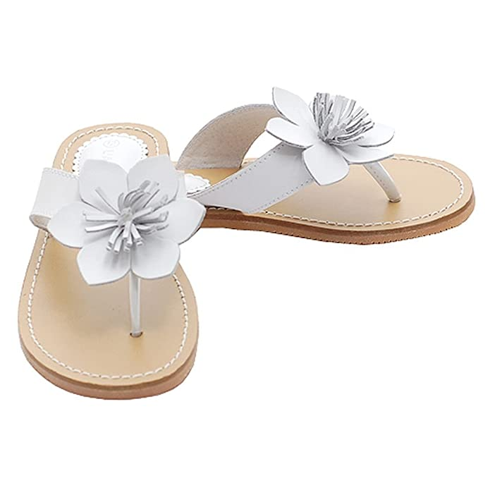 Amazon white flower flip flops spring sandals shoes toddler amazon white flower flip flops spring sandals shoes toddler little girls 7 4 sandals mightylinksfo