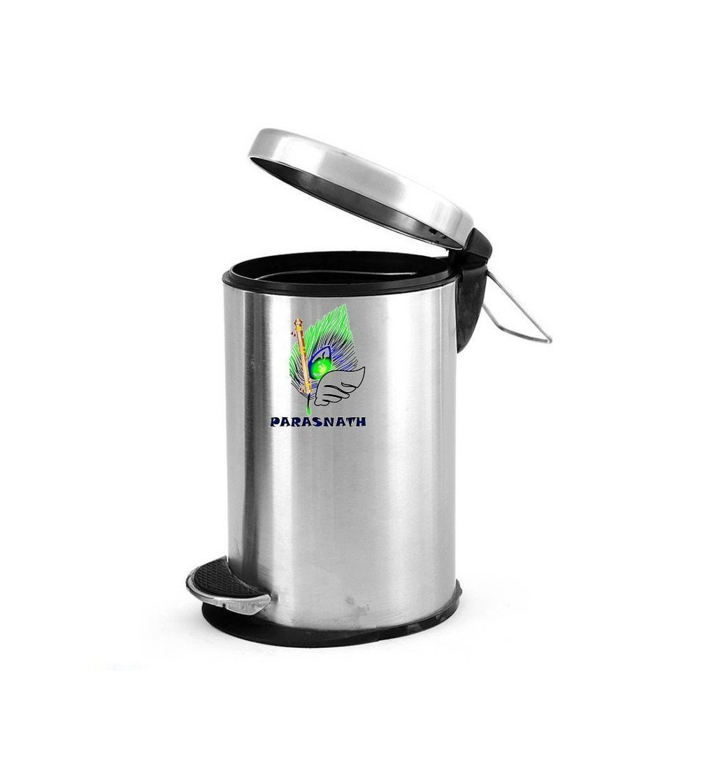"Parasnath Stainless Steel Plain Pedal Dustbin With Plastic Bucket (7""X11""- 5 Liter)"