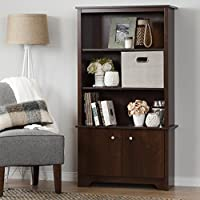 South Shore Vito 3-Shelf Bookcase with Doors, Sumptuous Cherry