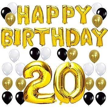KUNGYO Letras Tipo Balón Doradas Happy Birthday+Número 20 Mylar Foil Globo+24 Piezas Negro Oro Blanco Globo de Látex 20 Años de Antigüedad Fiesta de ...