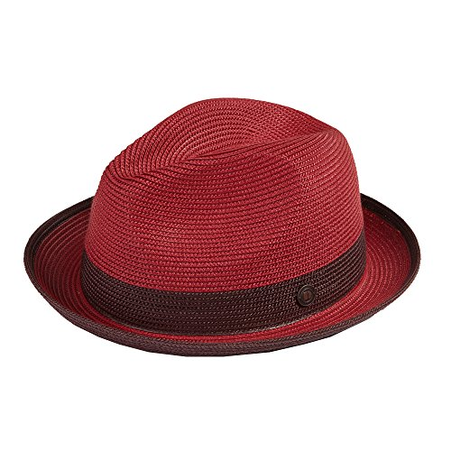 Dasmarca Mens Summer Crushable & Packable Straw Fedora Hat - Florence Ruby S (Summer Red Straw)