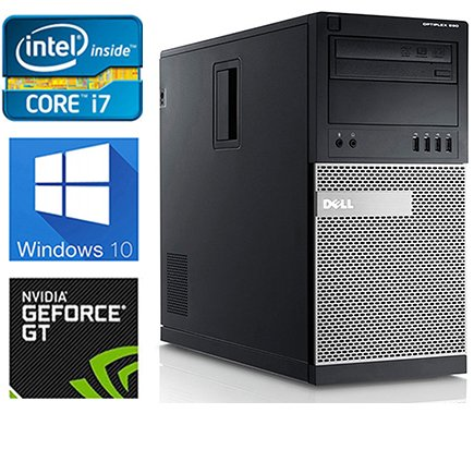 Dell Gaming 990 Desktop Computer Optiplex, Intel Core i7 upto 3.8GHz CPU, 16GB DDR3 Memory, NEW 1TB HDD, WiFi, Windows 10 Pro, Nvidia GT710 2GB (Certified Refurbished)