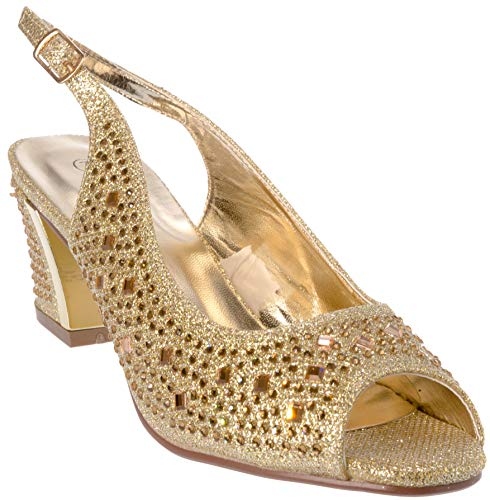 lime01 Women's Evening Sandal Rhinestone Gold Dress-Shoes Size 10 - Granny Combat Boots