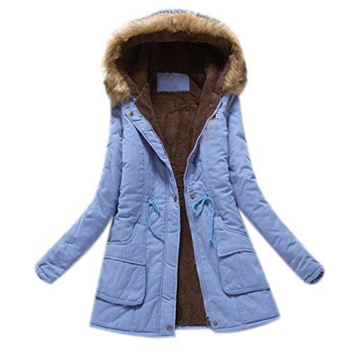 Claro Coats Caliente con Mujeres Capucha Azul Invierno Piel Las Chaqueta Cuello de Outwear de Largos Minetom Abrigos Parka gfTwZq