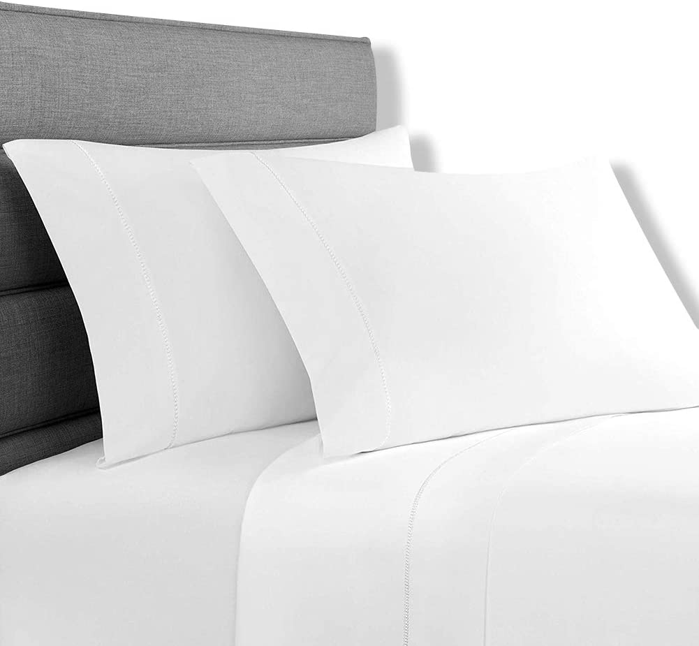 Lionel Richie Home Lifestyle Collection - 4 Piece 100% Cotton White Sheet with White Trim - King Size Soft Bed Sheet Set - Includes 1 Fitted & 1 Flat King Size Sheet with 2 Pillow Cases