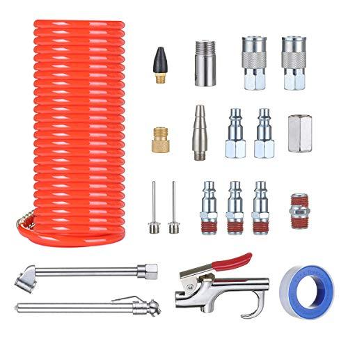 Audew Air Compressor Accessory Kit,1/4 NPT Air Compressor Connect/Coil PU Hose/Blow Gun/Tire Gauge/Storage Case-20Ps