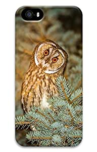 iPhone 5 Case, iPhone 5S Cases - Thin Fit 3D Hard Back Cover Bumper for iPhone 5/5s Owl Predator Spruce Night Ultra Slim Case Cover for iPhone 5/5S