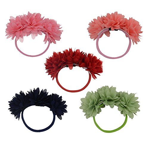 Fashion Pure Colour Chiffon Flowers Hair Elastic Band,Hair Rope Accessory Ponytail Holder for Lady Women Girls,Set of 5 (1)