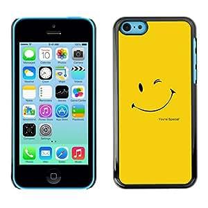 Caucho caso de Shell duro de la cubierta de accesorios de protección BY RAYDREAMMM - iPhone 5C - LINDA CARA SONRIENTE AMARILLO