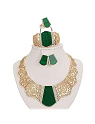 Moochi 18K Gold Plated Green Acrylic Necklace Earrings Ring Bracelet Jewelry Set Costume Wedding