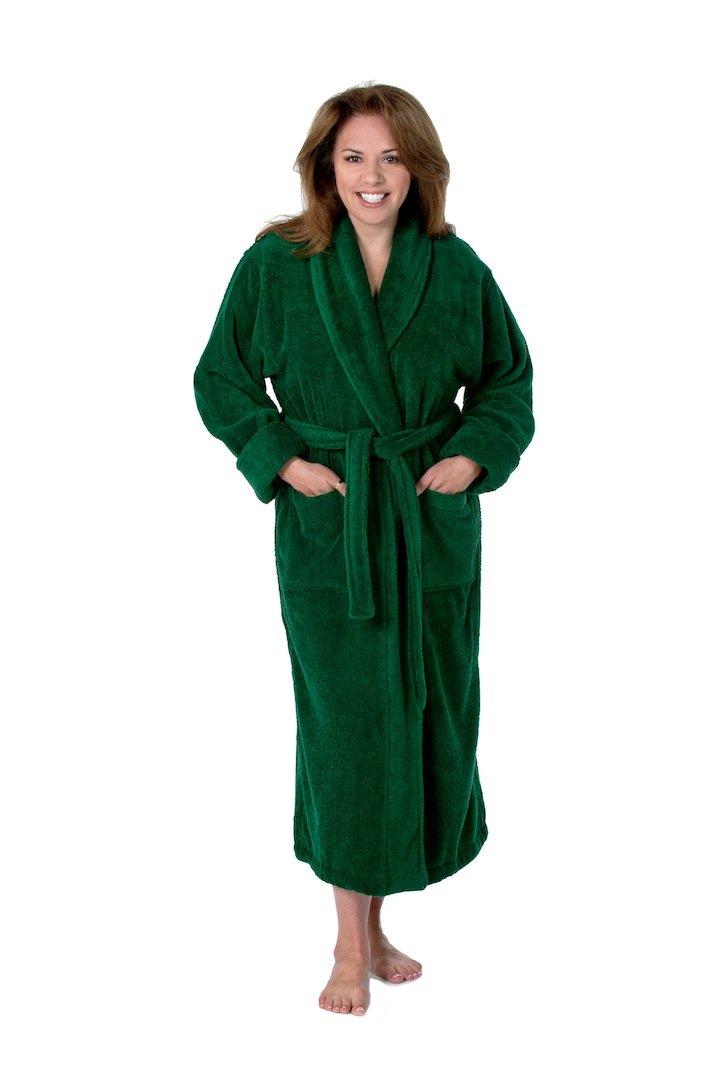 Thirsty Towels Turkish Cotton Luxury Bathrobe Tall Size Hunter Green