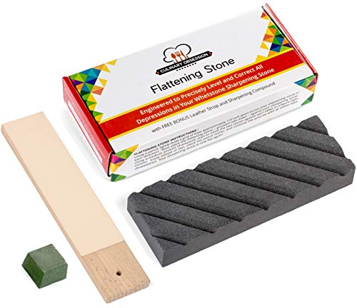 (Flattening Stone - The Best Way to Re-Level Sharpening Stones or Waterstones - also known as a Whetstone Fixer, Lapping Plate, Nagura Stone, or Grinding Stone - with BONUS Leather Strop and Compound)