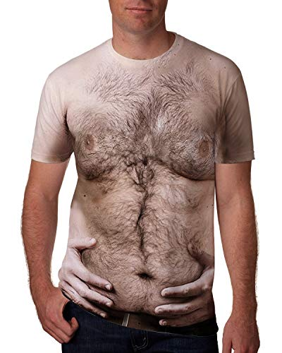 Goodstoworld 3D Novelty T-Shirts for Men Male Hairy Chest Belt Short Sleeve Big and Tall Ugly Hawaiian T-Shirt Casual Street Hilarious Funky Graphic Tees for Women Teen Boys Girls 3D Clothing Medium