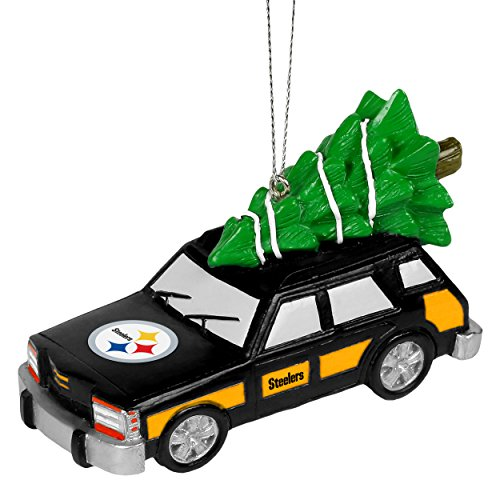 Forever Collectibles NFL Station Wagon With Christmas Tree Ornament-Pittsburgh Steelers at Steeler Mania