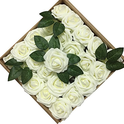 Jing-Rise 50PCS Fake Roses Real Looking Artificial Flowers For DIY Wedding Bouquets Centerpieces Baby Shower Party Home Office Shop Hotel Supermarket Decorations (Ivory) - Ivory Centerpiece