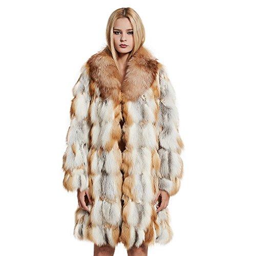 Women's Long Genuine Fox Fur Coat with Fox Fur Colalr Warm Coat Full Sleeve US18 (Red Fox Fur) - Fur Story