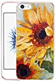 Case for Apple Iphone 5 5S SE Vintage Yellow Sunflowers Hard Unique Designer Slim Pattern Thin Protective Shockproof Drop Proof