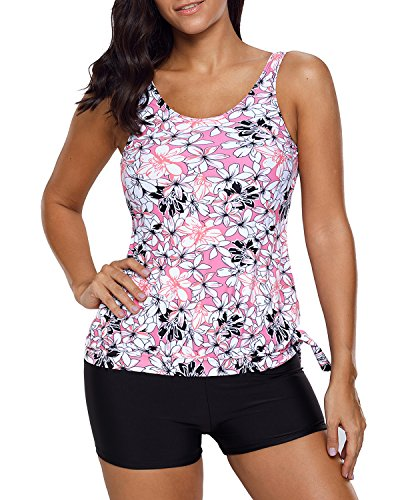 EVALESS Womens Floral Printed Scoop Neck Blouson Tankini Top with Swim Short Swimsuit Medium Black