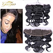 "Googoo 18inch 13""*4"" Body Wave Full Lace Frontal Closure Bleached Knots with Baby Hair Bleach Blonde Free Part 100% Virgin Remy Unprocessed Brazilian Human Hair"