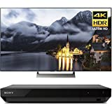 Sony 65-inch 4K HDR Ultra HD Smart LED TV 2017 Model (XBR-65X900E) with Sony 4K Ultra HD Blu Ray Player with Dolby Vision