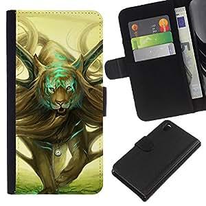 EJOY---La carpeta del tirón la caja de cuero de alta calidad de la PU Caso protector / Sony Xperia Z3 D6603 / --Arte salvaje del tigre mágico Dibujo Tiempo Simbólico