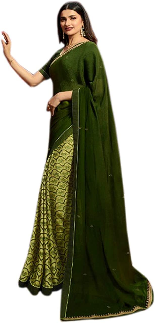 Mohit Creations Women's Partywear Printed Half and Half Saree with Unstitched Blouse