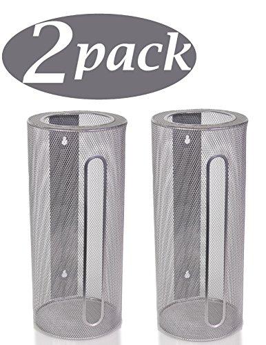 Ybm Home Silver Mesh Wall Mount Cylinder Bag Saver, Holder, and Dispenser 2371-2 (2) ()