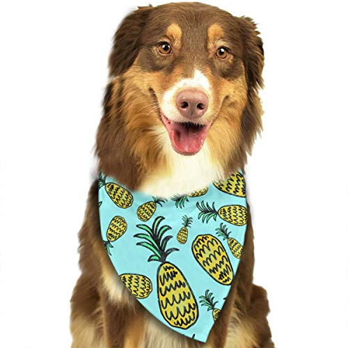 (Pet Scarf Dog Bandana Bibs Triangle Head Scarfs Yellow Pineapple Accessories for Cats Baby)