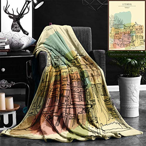 Nalagoo Unique Custom Flannel Blankets Old Center In Istanbul Turkey Residential Buildings Line Art Freehand Drawing With Liner Super Soft Blanketry for Bed Couch, Throw Blanket 40