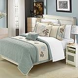 Chic Home 6-Piece Kirsten Embroidered Comforter Set, Queen, Sage Beige