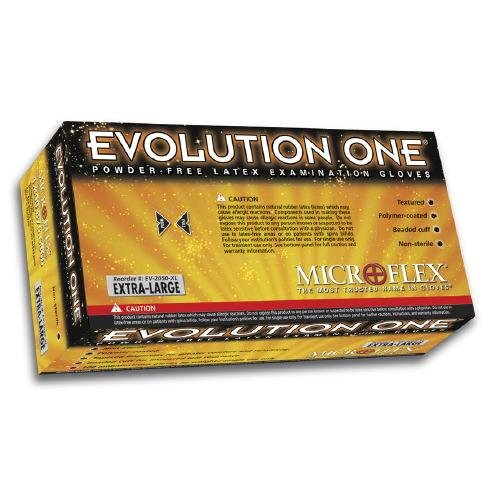 Microflex Medical EV-2050-S Small Natural 10'' Evolution One 5.5 mil Latex Ambidextrous Non-Sterile Medical Grade Powder-Free Disposable Gloves, English, 15.34 fl. oz., Plastic, 1
