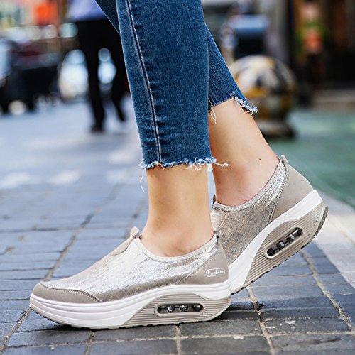 de de Ligeros Zapatos Gray Gruesa Amortiguador Estilo Zapatos la Inferior Aire Viaje de CONMING con Respirables el Mujer para Simples Talón Cuña con 4zrUWzOI