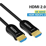 Fiber HDMI Cable 4K 50ft 60Hz, FURUI Fiber Optic HDMI Cable 2.0b HDR, ARC, HDCP2.2, 3D, High Speed 18Gbps Subsampling 4:4:4/4:2:2/4:2:0 Slim and Flexible HDMI Fiber Optic Cable