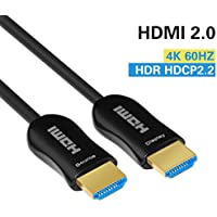 Fiber HDMI Cable 4K 50ft 60Hz, FURUI Fiber Optic HDMI 2.0 Cable HDR, ARC, HDCP2.2, 3D, High Speed 18Gbps Subsampling 4:4:4/4:2:2/4:2:0 Slim and Flexible HDMI Fiber Optic Cable