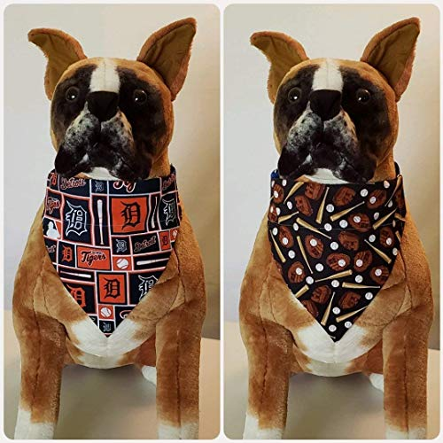 Reversible Bandana, Made with Detroit Tigers Fabric, Baseball, Scarf, Dog, Cat, Pet, Slip On Over The Collar, (Does Not Tie) 2 in one