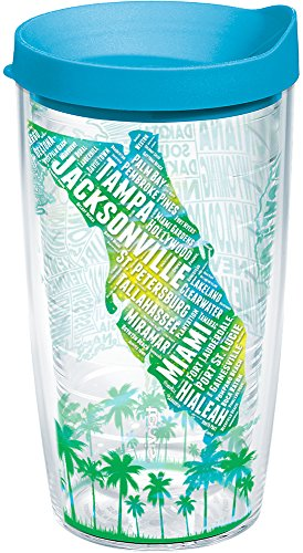 Tervis 1235238 Florida Typography Map Tumbler with Wrap and Turquoise Lid 16oz, Clear